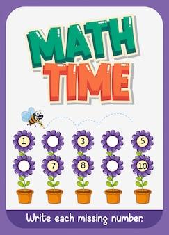 Diseño de plantilla de hoja de trabajo para matemáticas con número faltante
