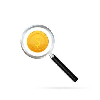Diseño de plantilla de icono de logotipo de búsqueda de dinero.