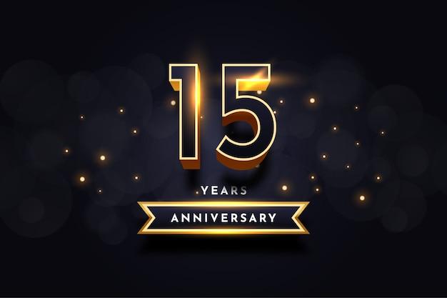 Diseño de plantilla de ilustración de celebración de aniversario de 15 años