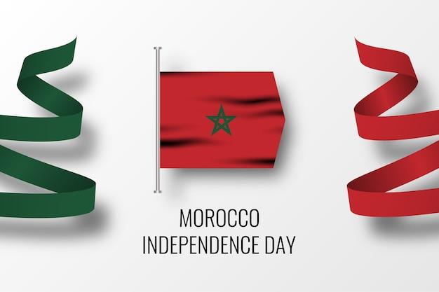 Diseño de plantilla de ilustración de día de la independencia de marruecos