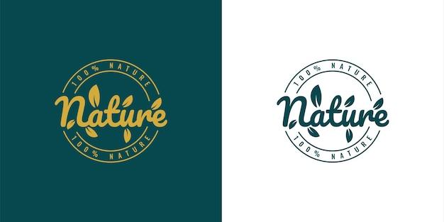 Diseño de plantilla de ilustración de logotipo vintage de naturaleza