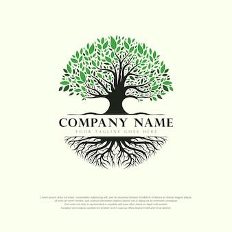 Diseño de plantilla de ilustración de vector abstracto de logotipo de árbol de la vida sobre fondo blanco