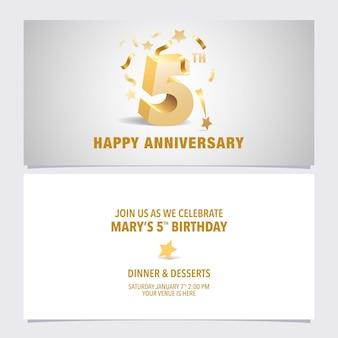 Diseño de plantilla de ilustración de vector de tarjeta de invitación de aniversario de 5 años con volumetri de color dorado