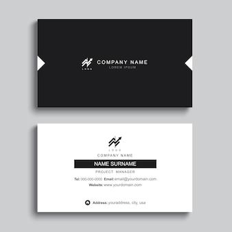 Diseño de plantilla de impresión de tarjeta de visita mínima. color negro y diseño simple.