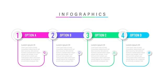 Diseño de plantilla de infografía de 4 pasos.