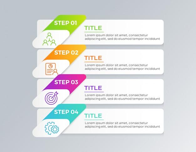 Diseño de plantilla de infografía con 4 pasos.