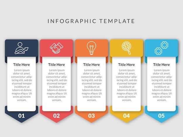 Diseño de plantilla de infografía de 5 pasos