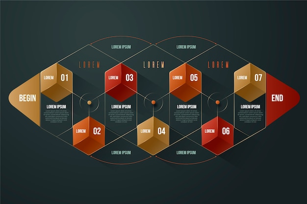 Diseño de plantilla de infografía brillante 3d