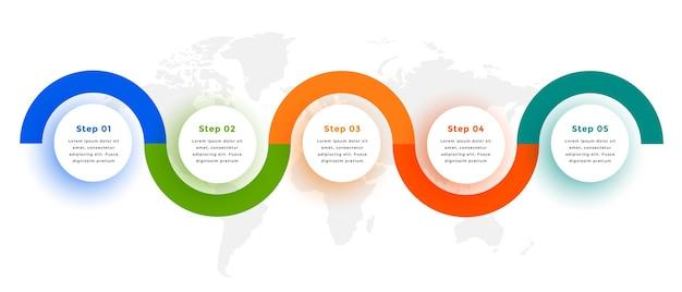 Diseño de plantilla de infografía circular de seis pasos creativos