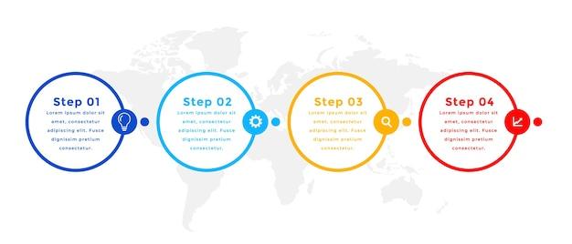 Diseño de plantilla de infografía de círculo de cuatro pasos