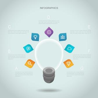 Diseño de plantilla de infografía creativa con elemento de bombilla de iluminación