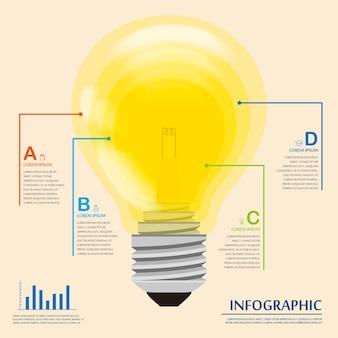 Diseño de plantilla de infografía de educación con bombilla