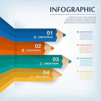 Diseño de plantilla de infografía de educación con elemento de gráfico de lápiz