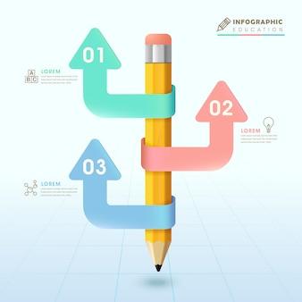 Diseño de plantilla de infografía de educación con elementos de lápiz