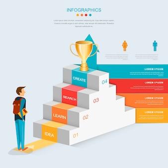 Diseño de plantilla de infografía de educación con escaleras y flecha creciente