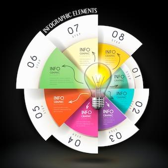 Diseño de plantilla de infografía de educación con gráfico circular y bombilla