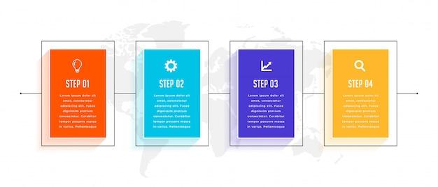 Diseño de plantilla de infografía empresarial de línea de tiempo de cuatro pasos