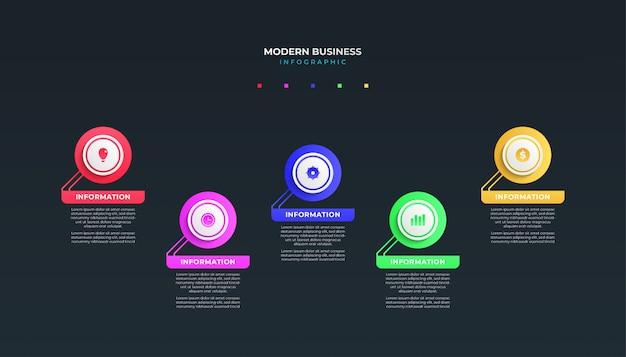 Diseño de plantilla de infografía empresarial moderna para presentación o diseño de flujo de trabajo