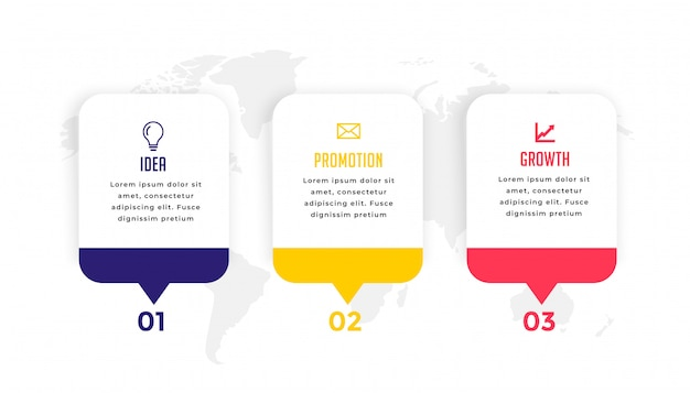 Diseño de plantilla de infografía empresarial moderna de tres pasos