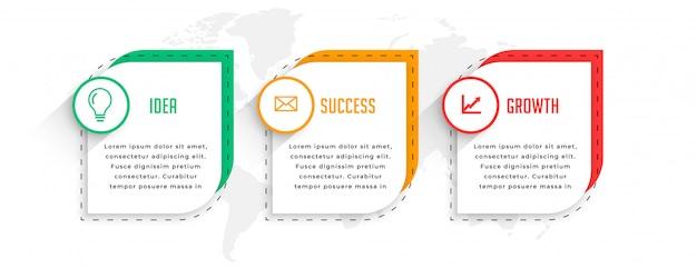 Diseño de plantilla de infografía empresarial profesional de tres pasos