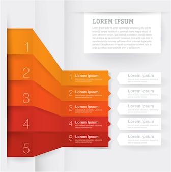 Diseño de plantilla de infografía de flecha para infografías de negocios con iconos de marketing y procesos de etapas paso a paso