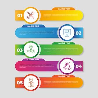 Diseño de plantilla de infografía gradiente