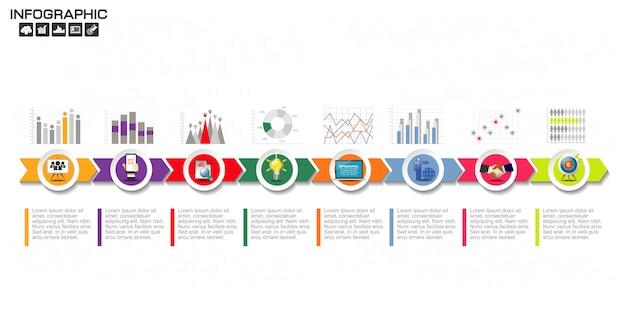 Diseño de la plantilla de infografía con los iconos y las opciones.