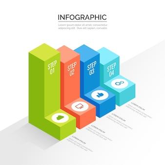 Diseño de plantilla de infografía isométrica.