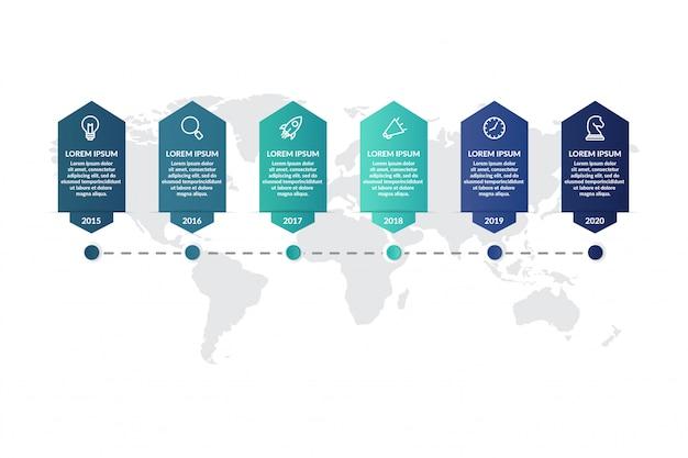 Diseño de plantilla de infografía de línea de tiempo para presentación