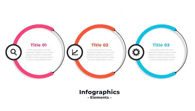 Diseño de plantilla de infografía moderna circular de tres pasos