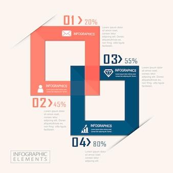 Diseño de plantilla de infografía moderna con elemento cuadrado