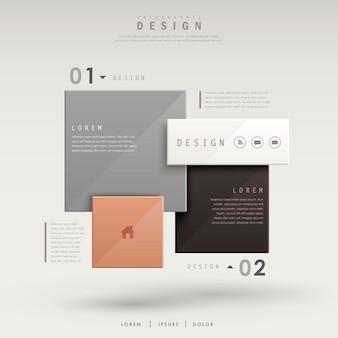 Diseño de plantilla de infografía moderna con elementos cuadrados brillantes
