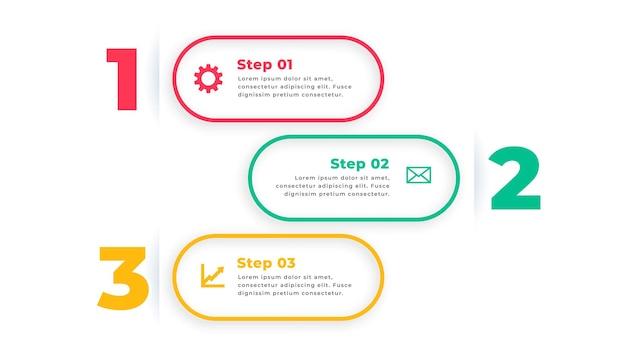 Diseño de plantilla de infografía moderna de tres opciones