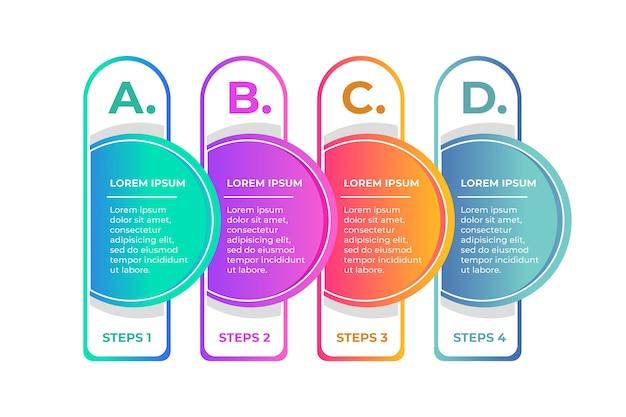 Diseño de plantilla de infografía con opciones y pasos.