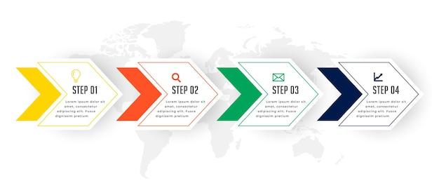 Diseño de plantilla de infografía de pasos de línea de tiempo empresarial