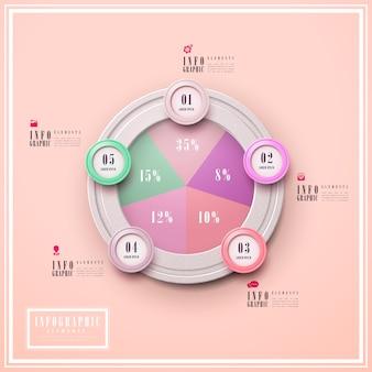 Diseño de plantilla de infografía de simplicidad con elementos circulares