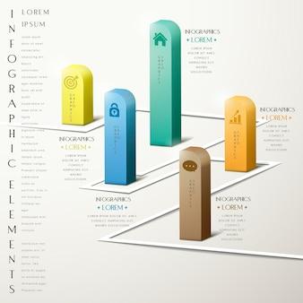 Diseño de plantilla de infografía de simplicidad con elementos de gráfico 3d