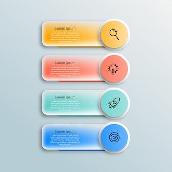 Diseño de plantilla de infografías creativas de negocios de efecto de vidrio transparente