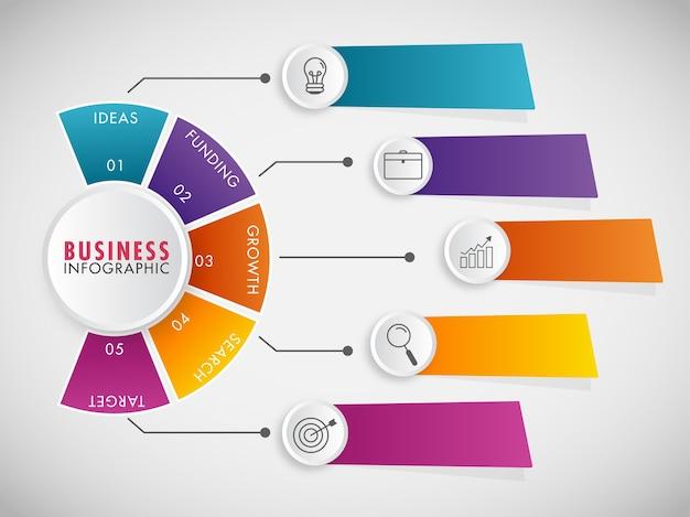 Diseño de plantilla de infografías de negocios con iconos de 5 pasos