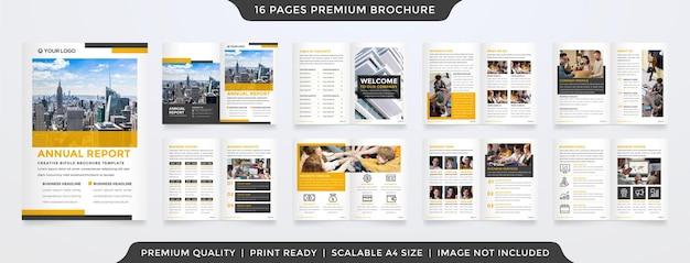 Diseño de plantilla de informe anual con estilo minimalista y limpio.