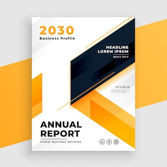 Diseño de plantilla de informe anual de folleto comercial amarillo
