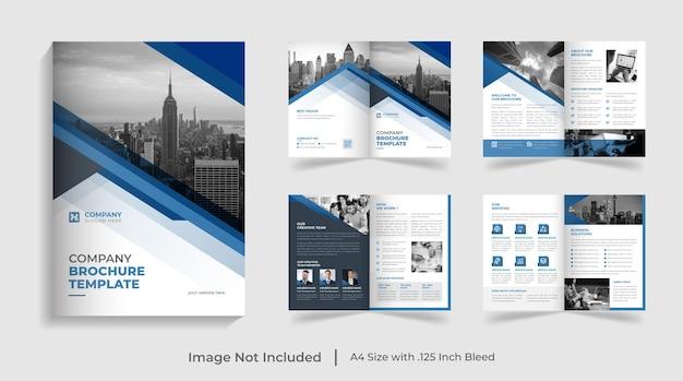 Diseño de plantilla de informe anual de propuesta de negocio plegable moderno corporativo de 8 páginas