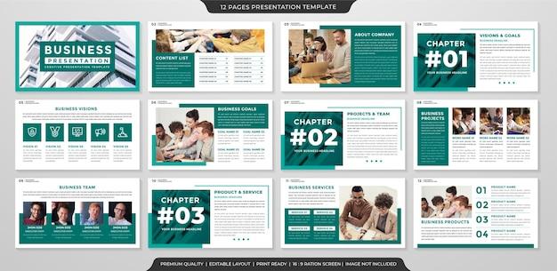 Diseño de plantilla de informe anual con uso de estilo minimalista para presentación corporativa e informe anual.
