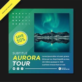 Diseño de plantilla de instagram de aurora tour