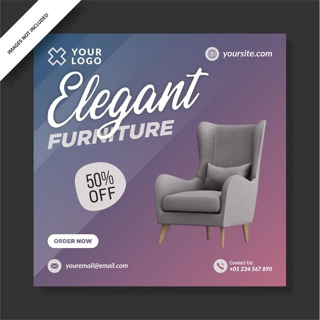 Diseño de plantilla de instagram de muebles elegantes