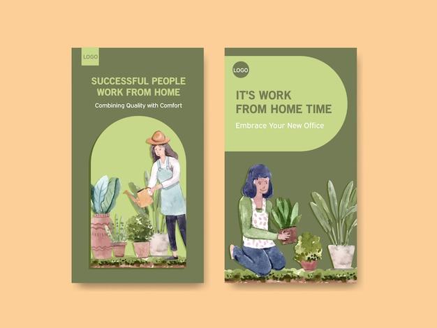 El diseño de la plantilla de instagram con personas trabaja desde el hogar y el jardín, plantas verdes. ilustración de vector de acuarela de concepto de oficina en casa