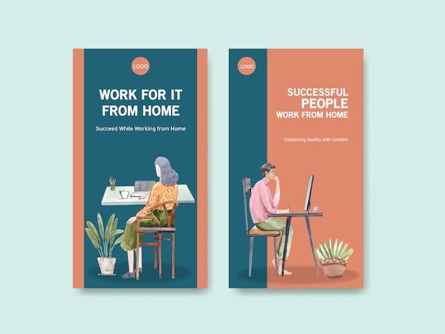 El diseño de la plantilla de instagram con personas está trabajando desde casa, buscando en internet. ilustración de vector de acuarela de concepto de oficina en casa