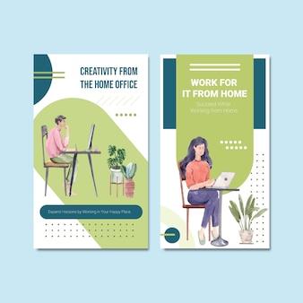 El diseño de la plantilla de instagram con personas está trabajando desde casa. ilustración de vector de acuarela de concepto de oficina en casa