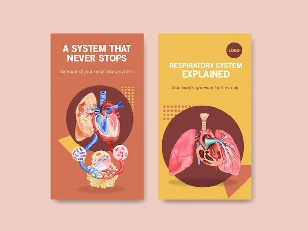 Diseño de plantilla de instagram respiratorio con anatomía humana de pulmón y cuidado saludable