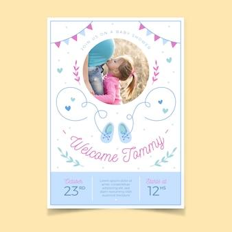 Diseño de plantilla de invitación de baby shower